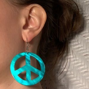 Jewelry - Teal Peace Sign Earrings ✌️